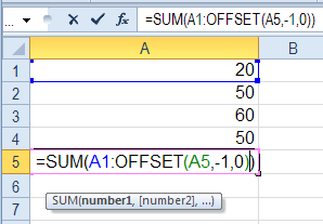 Excel Sum Function OFFSET