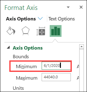 change the axis minimum