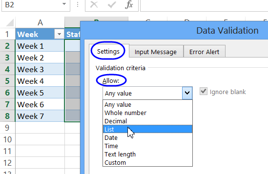 data validation on ribbon