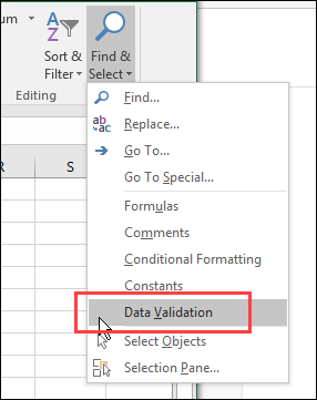 find and select data validation cells