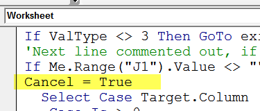 worksheet code cancel true