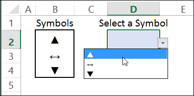 drop down list with symbols