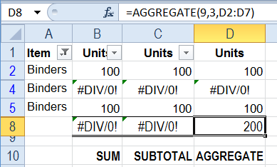 AGGREGATE options