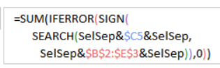 SUM, IFERROR, SIGN and SEARCH