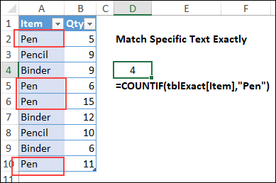 count specific items in Excel list