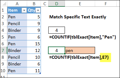 use cell reference to match exact text