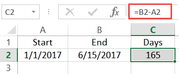 subtract start date from end date