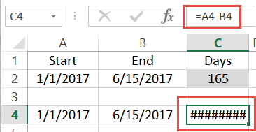 error when subtracting end date from start date