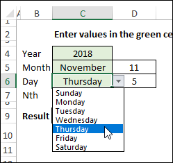 drop down lists for month and day