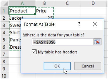 format as table dialog box