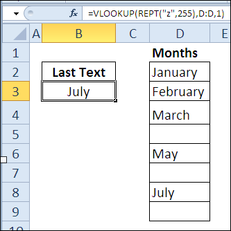 find last text item with REPT and VLOOKUP