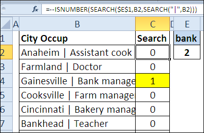 SEARCH starting after specific character