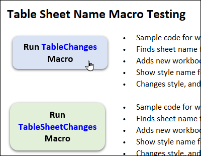 select a table to table sheet name testing macros