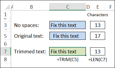 trim function removes start and end spaces