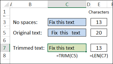 trim removes extra spaces