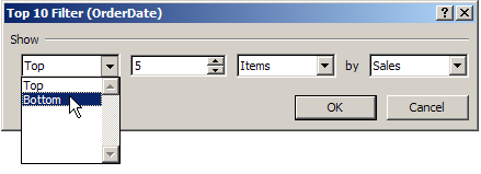 pivot table bottom filter
