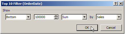 pivot table bottom sum