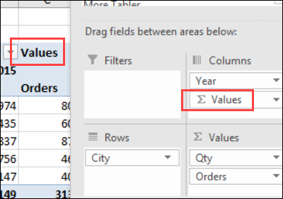 values field button