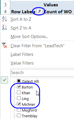 manual filter check boxes