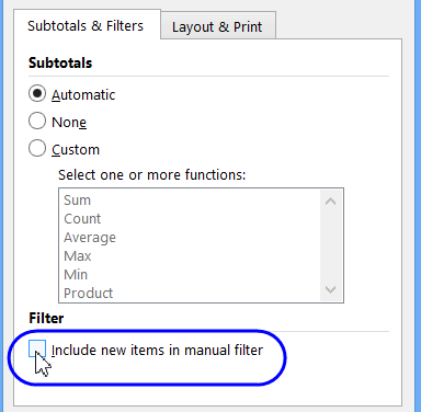 manual filter new items setting