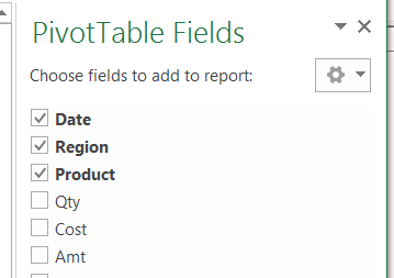 pivot fields list check boxes