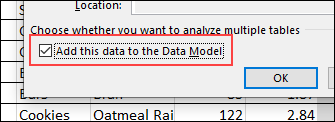 warning message add data to data model