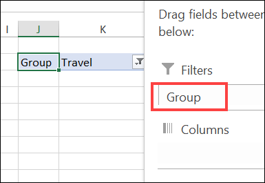 pivot table with group field