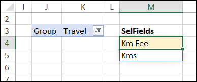dynamic array formula shows fields for selected group