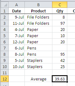 pivot table average data