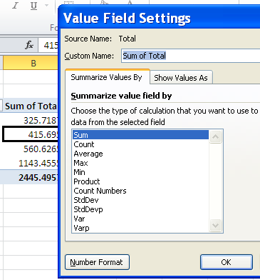 pivot table summary functions