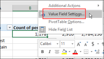 select Value Field Settings