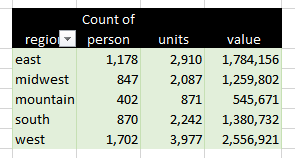 pivot table with person count