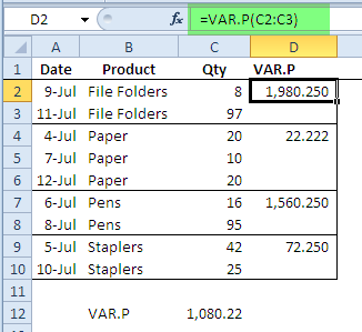 VAR.P worksheet function
