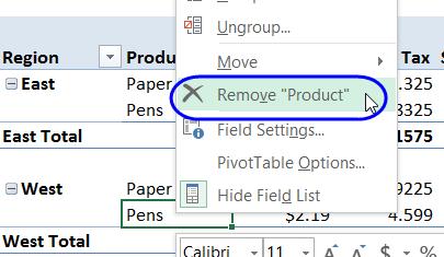 remove pivot field