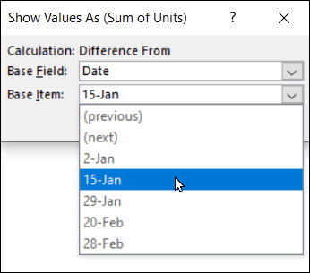 select specific date from drop down list