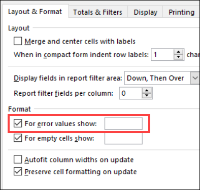 pivottable options for error values show
