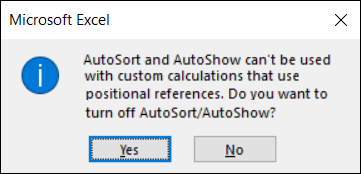 error message when sorting