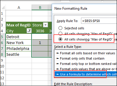 start conditional formatting rule