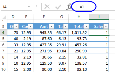 counter field in excel table
