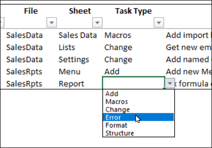 drop down list for Task Type