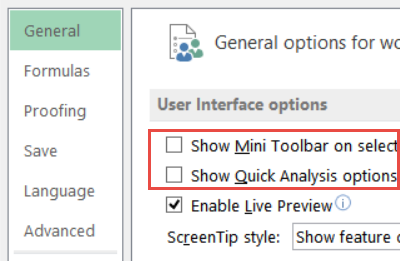 excel options general