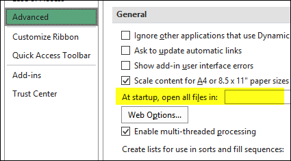 excel options startup