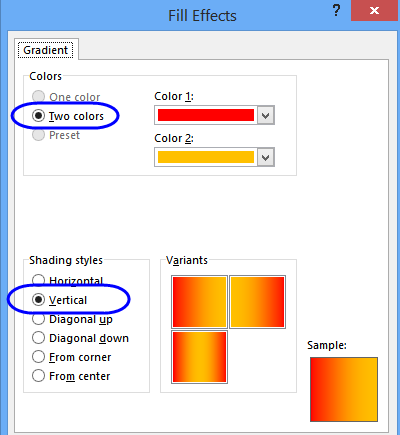 fill effects dialog box