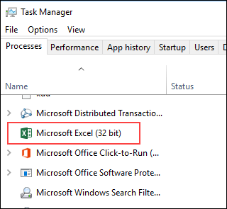 Excel running Background Processes