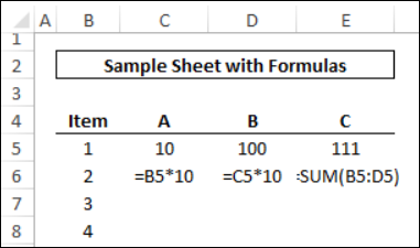 formula copied right, into cell D5